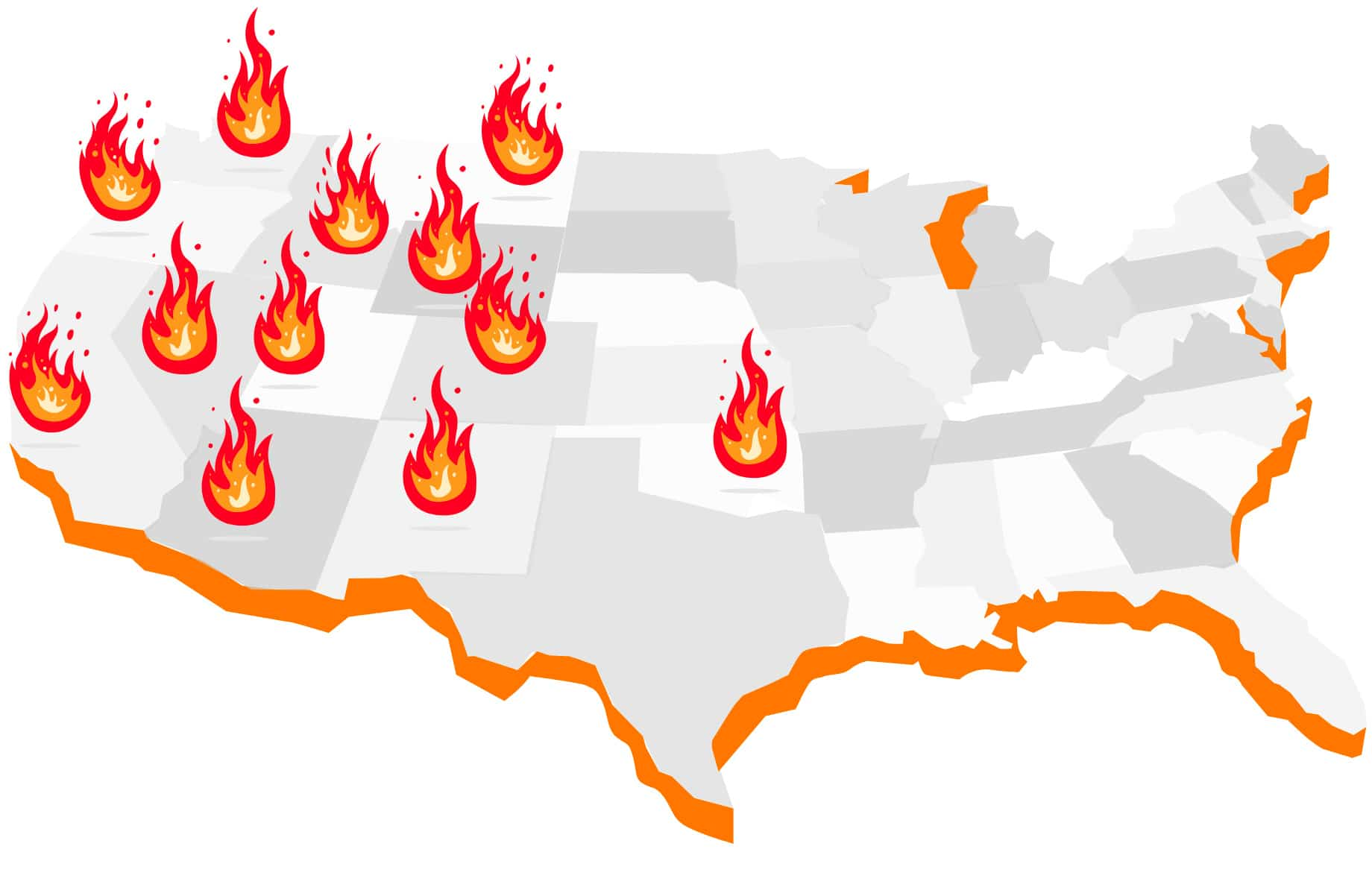 map listing states at risk of larg efires