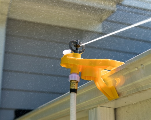 wasp sprinklers on gutter