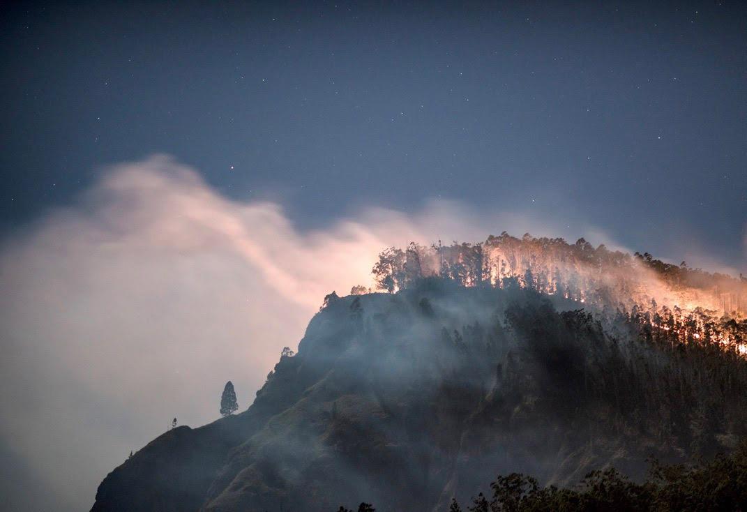 mountain side on fire