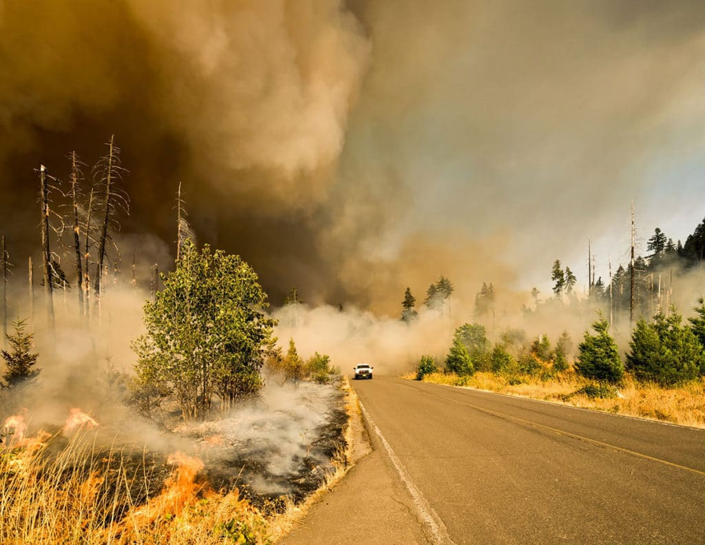 truck driving on road filled with smoke from wildfire
